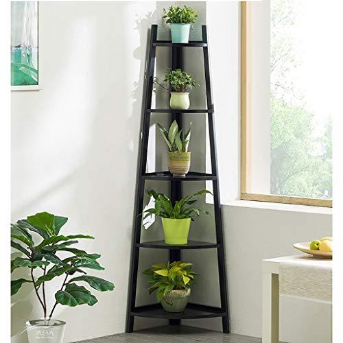 LLYU Escalier de fleurs en bois intérieur stand de fleurs multi-couche stand de plantes (Color : Black, Size : M)