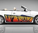 2x Seitendekor 3D Autoaufkleber gelb Retro Gras Digitaldruck Seite Auto Tuning bunt Aufkleber Rennstreifen Seitenstreifen Dekor Racing Autofolie Car Wrapping Motorrad LKW Decals Sticker Tribal Seitentribal CW004 Airbrush Carwrap, Größe LxB:ca. 160x40cm