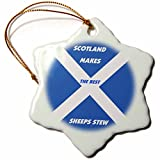 3dRose orn_51498_1 Scottish Chefs Snowflake Porcelain Ornament, 3-Inch