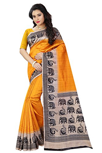 Shree Sanskruti Yellow and Black Mysore Art Silk Saree