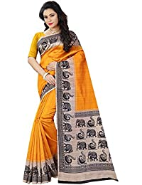 Shree Sanskruti Women's Bhagalpuri Art Silk Printed Saree With Blouse Piece (BHAGALPURI SAREE 21 YELLOW_Free Size)