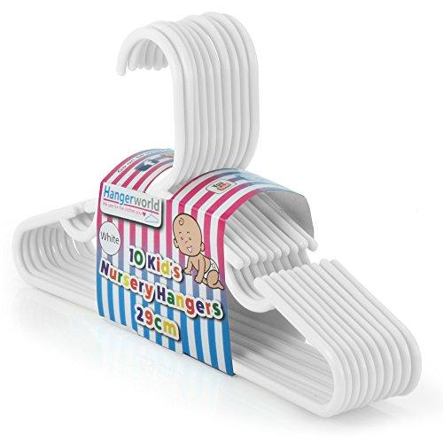 Hangerworld - Pack de 20 Perchas De Plástico Blanco Para Niños Con Barra -29 cm.