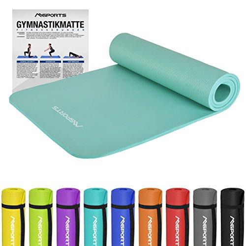 MSPORTS Gymnastikmatte Premium | inkl. Übungsposter | Hautfreundliche - Phthalatfreie Fitnessmatte - Cyan - 190 x 60 x 1,5 cm - sehr weich - extra dick | Yogamatte