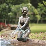 Chiara Bronzefigur Skulptur echte Handarbeit Gartenskulptur Gartenfigur Garten-Statue