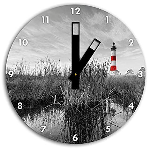 Bodie Iceland Lighthouse in North Carolina black / white, wall clock diameter 30cm with black squared the hands and face, decorative items, Designuhr, aluminum composite very nice for living room,