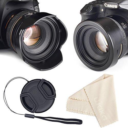 Reversible Tulpe Blume Gegenlichtblende für Canon Nikon Sony DSLR + Center Pinch Objektivdeckel mit Halteband + Premium-Set Mikrofaser-Reinigungstuch Kameralinse 58 mm