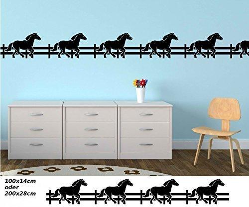 Wandtattoo selbstklebend Bordüre Pferd Pferde Tier Pony Zaun Set Kinderzimmer Banner Aufkleber Wohnzimmer 1U164, Farbe:Schwarz Matt;Länge x...