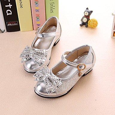 LIDOG Fille-Habillé-Rose Argent Or-Talon Bas-Confort-Chaussures Bateau-Polyuréthane Pink