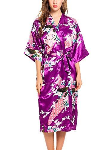 ADORNEVE Femme Robe de Nuit Kimono Satinée Nuisette Sexy Longue Paon Violet Foncé