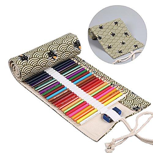 Bleistifte Rolle Fall,Leinwand Bleistift-Beutel Stifterolle 36 farbigen slot Skizzieren Malen Bleistift Wrap Organizer,Buntstifte Wickeln Aufbewahrung Mehrzweck-Schutzhülle,Wrap aufrollbare Tasche