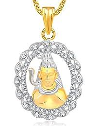 Meenaz Jewellery In American Diamond Cz Jewellery Gold Plated Shiva Shankar Namah Shivay God Unisex Pendant -...