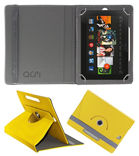 Acm Rotating 360° Leather Flip Case for Amazon kindle Fire Hdx 8.9 Cover Stand Yellow  available at amazon for Rs.179