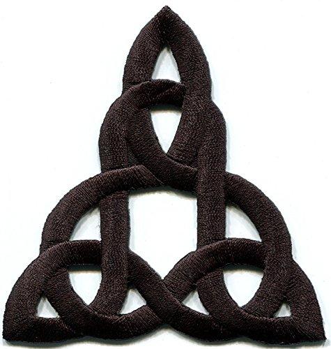 Keltischer Knoten schwarz Irish Gothic Biker Tattoo Retro Magick bestickt Aufnäher Patches Applikation (Stoff Floral Schuhe)
