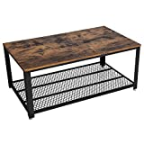 VASAGLE Coffee Table, Industrial Side Table, Cocktail Table, with Metal Frame, with Storage Shelf, for Living Room, Rustic Brown LCT61X