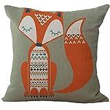 Kissenbezug Zierkissenbezüge Leinen 45x 45cm Hevoiok Sofa Auto Bett Dekoratives Kissenhülle mit Fuchs Muster Design Taille Kissen Abdeckung (B)