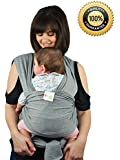 *FLASH SALE* Premium Baby Slings Carrier Natural Cotton Original Baby Wrap | Multiple Positions Soft and Lightweight Sling for Newborn Infants from Birth | Grey
