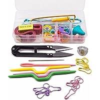 SODIAL Caja de Conjunto de herramientas de 56 piezas de Agujas de tejer Gancho de punto Hilo de tejer clip de marcador