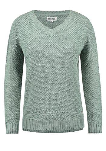 DESIRES Ina Damen Strickpullover Feinstrick mit V-Ausschnitt aus hochwertiger Baumwollmischung, Größe:S, Farbe:Slate Grey (3579) -