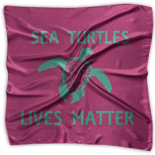 Sea Turtles Lives Matter Square Scarf - Women's Graphic Print Chiffon Scarf 100% Polyester Boys Graphic Fleece