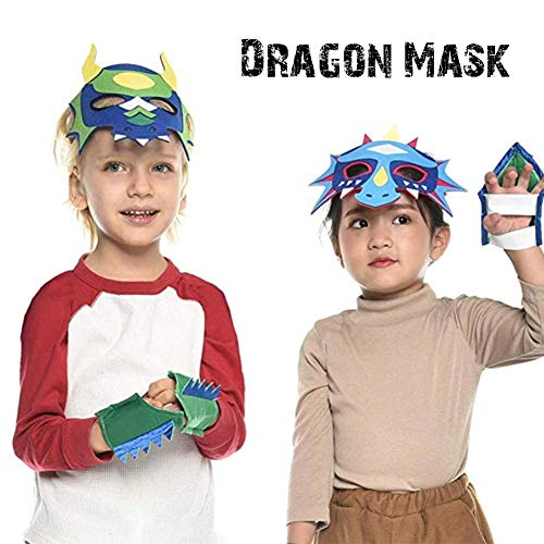 Kostüm Magie Drachen Kind - Halloween 12 Stück Filz Drachen Maske Jungen und Mädchen Dinosaurier Parteien Zubehör Dress Up Kostüm