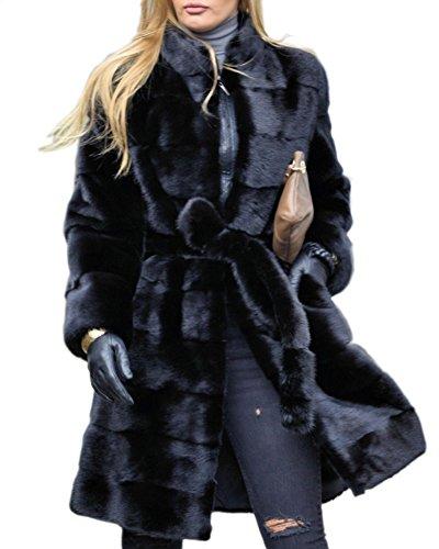 Aofur Frauen Damen Weinlese lange Thick Faux Pelz Mäntel Jacke Winter Oberbekleidung warmer Trench Mantel Parka Coat (42, Schwarz) (Faux Pelz Mantel Jacke)