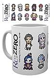 1art1 Set: Re:Zero - Starting Life in Another World, Characters Pixels Tazza da caffè Mug (9x8 cm) E 1 Sticker Sorpresa