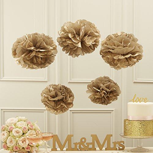 Ginger Ray Metallic Gold Tissue Pom Poms Party & Hochzeit Dekorationen - In Pastellfarben Perfektion