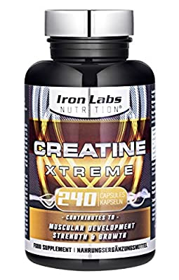 Creatine Xtreme: Advanced Creatine Monohydrate tablets (4,200mg Dosage - 240 Capsules) Advanced Creatine supplement stacked with ALA for Muscular Strength, Growth & Development (240 Capsules) by Iron Labs Nutrition