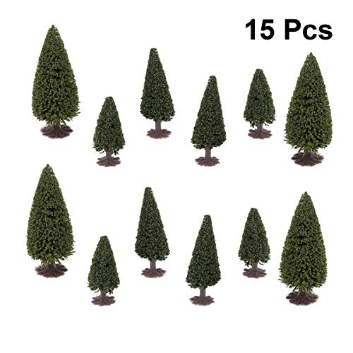 PIXNOR 15 Stück Zeder Bäume Modell Landschaftsmodell 1: 100 1: 150 1: 200 - Dunkelgrün