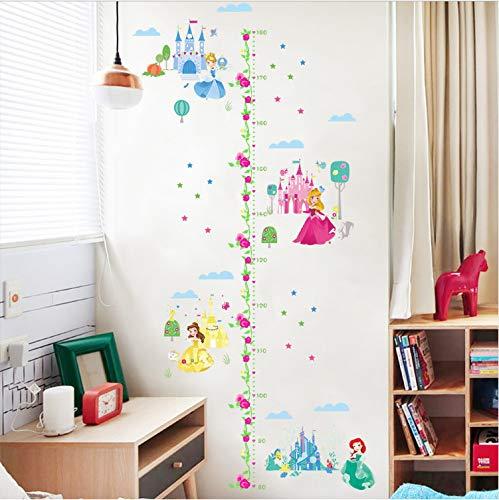 HAOWANGJIAO Wandtattoo Prinzessin Kinder Schlafzimmer Höhe Wachstum Chart Messen Wandbilder Dekor Vinyl (Für Prinzessin Mädchen Wachstum Chart)