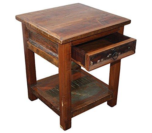 KMH, Nachttisch 'Rustic' im Shabby Chic / Vintage Style (aus recyceltem Teakholz gefertigt!)...