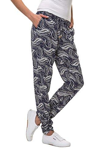 12a866c746 Hailys Damen Sommerhose Freizeithose Comfort Fit Strandhose Print (M,  Navy/Print 1)