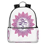 College School Backpacks,Ethnic Vintage Floral Design Heavenly Bodies Oriental Celestial Elements,Casual Hiking Travel Daypack