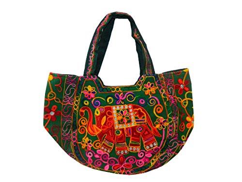 796ff09b90 indischerbasar.de - Sac à Main en Coton Vert Broderies Multicolores miroirs  Accessoire de Mode