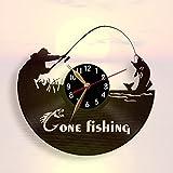 Pesca reloj, reloj de pared de 12pulgadas (30cm)/cortado con láser de Vintage disco de vinilo (negro Clockface, árabe dígitos)