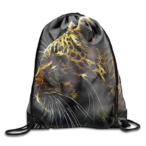 uykjuykj Tunnelzug Rucksäcke, Handsome Leopard Sackpack Drawstring Backpack Waterproof Gymsack Daypack for Men Women Handsome leopard9 Lightweight Unique 17x14 IN