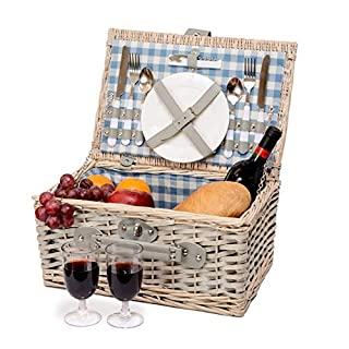 Miyagi Tea Europe 2 Person Traditional Vintage British Styled Wicker Picnic Basket Hamper with Blue Checkered Canvas Lining with Cutlery, Plates, Glasses