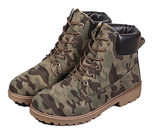 Brinny Herren Outdoor Worker Boots Schnürstiefel Profilsohle Grün