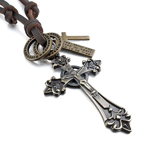MunkiMix Metalllegierung Legierung Echtleder Anhänger Halskette Golden Ton Jesus Christus Kruzifix Keltisch Kruzifix Kreuz Einstellbar Verstellbaren 16~26 Zoll Kette Herren