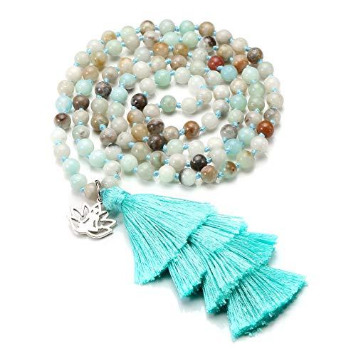 CrystalTears 108 Perlen mala Kette Wickelarmband Tibetische Buddhistische gebetskette Armband Meditations Stein Halskette mit Weihnachtsbaum Quaste