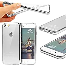 Urcover® Apple iPhone 6/6s | Funda Carcasa Protectora Bordes con Espejo | TPU en Plata | Protección Completa Case Cover Smartphone Móvil Accesorio