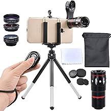 APEXEL Kits de lentes con clip de 4 en 1 Lente Telefoto 10x + Lente Ojo de Pez, Lente Ojo de Pez 198 grados + 0.63X Lente Gran Angular + 15 x Macro para el iphone 7/6 / 6S Plus / HTC Huawei y la mayoría de los Andriod Teléfono inteligente