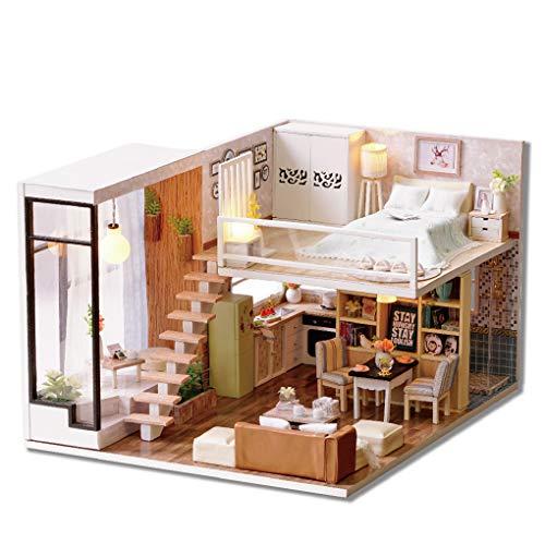 Diy Miniatur Dust Cover 3D Holzpuppenhaus Holzmöbel Building Blocks Spielzeug für Kinder Puppen