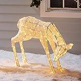 Lights4fun LED Glitzer Reh Figur warmweiß 72cm Timer innen und außen