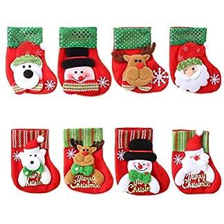 Biluer Medias De Navidad 8PCS Calcetín De Navidad Calcetines Navideños Botas De Navidad Decoraciones De Navidad De Santa Claus Muñeco De Nieve del Reno Oso Caramelo Regalo Bolsa 16 * 12cm