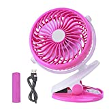 COOLEAD Clip Battery Fan - Mini Rechargeable Battery or USB Powered, 2 in 1 Personal Fan, Colorful, Adjustable Clip Fan for Baby Stroller, Outdoor, Car, Office, Traveling. (Pink)