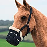 Beimaji Commercio Deluxe Comfort Anti-morso Piccolo Pony Wear-Resistant Ecologico Plush Mask Horse Muzzle equestre Forniture, Nero, Large