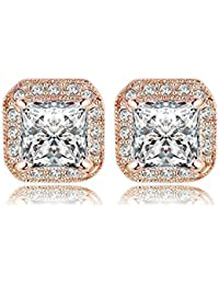 Zorah Rose Gold Plated Square Shaped Stud Earrings For Women With Austrian Crystals SWA Elements - Rose Gold