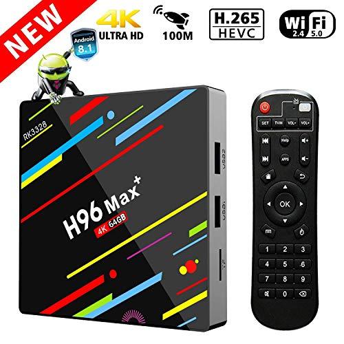 4G 64GB TV-Box, Penkou H96 Max + Android 8.1 Smart-TV-Box RK3328 Quad-Core 64bit Cortex-A53 4 GB 64G Penta-Core Mali-450 bis 750Mhz + Geschenkbox Full HD / H.265 / Dual WiFi Smart Set Top Box
