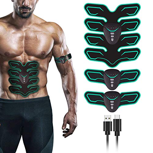 FYLINA Muskelstimulation Elektrostimulation EMS Trainingsgerät Professionelle USB Muskelstimulator Elektrische Bauchmuskeltrainer Elektrostimulatoren für Damen Herren(8 Pads) (Grün)